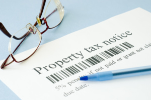 property self assessment tax notice with reading glasses
