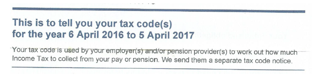 Notice from HMRC showing tax codes for the upcoming year
