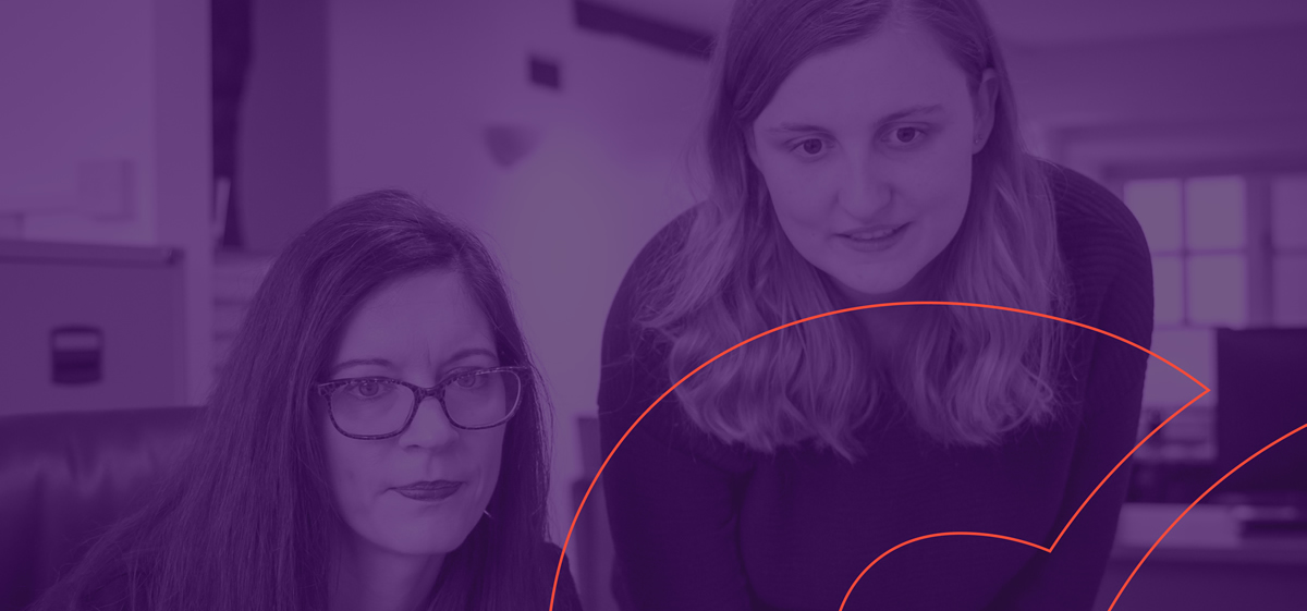 professional women with purple overlay