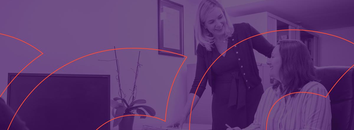 women at work with a purple overlay