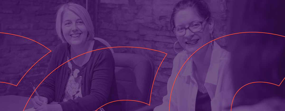 women in a meeting with purple overlay